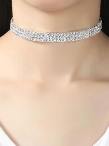 Image of Collana girocollo con glitter Collana con strass argento Collana