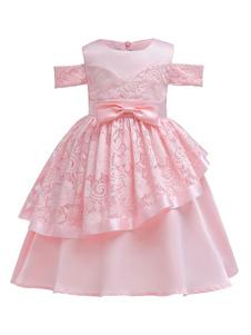 Douce Rose Flower Girl Robes Dentelle Bow Sash Cold épaule une ligne genou longueur enfants robe de soirée formelle