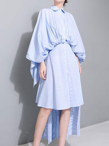 Azul Camisa Vestido de Rayas 2018 con Manga Larga con Botónes High Low Vestido de verano