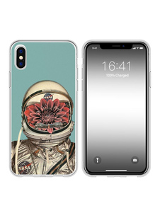 Image of TPU Phone Case Cartoon Astronaut Print Shatter Proof Shockproof Protective Phone Bumper per iPhone X