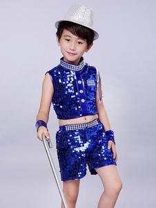 Chándal de traje de baile de jazz para niños Pantalón de traje de chándal real azul de brillo y conjunto superior