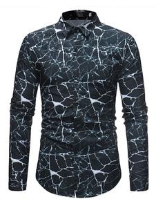 Image of Camicia casual da uomo Camicia manica lunga slim fit con stampa