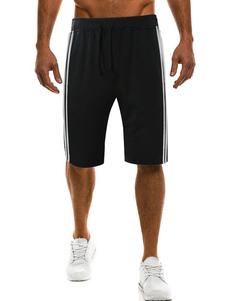 Image of Pantaloncini sportivi da uomo in cotone a righe con coulisse