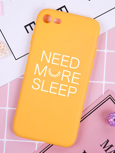 Image of Yellow Phone Case Letter Stampa Shatter Resistant Puncture Proof IPhone X IPhone 8 Plus Protettivo TPU Phone Bumper