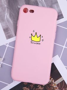 Image of Pink Phone Cover Crown Stampa Shatter Proof Anti Stain TPU Protettivo IPhone X IPhone 8 Plus Phone Bumper