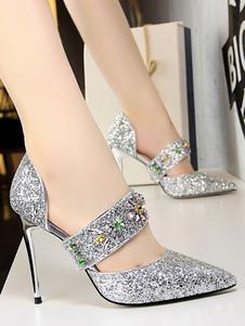 Image of Argento tacchi alti da donna scarpe da sera paillettes punta a punta strass tacco a spillo scarpe da festa