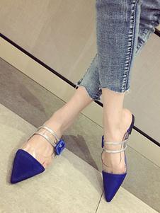 Azul Mule Zapatos Pelo de Caballo 2018 Punta Puntiagua con Hebilla Detalle Zapatos Planos para Mujer