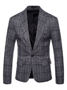 Image of Giacca casual grigio giacca blazer tinta unita giacca scozzese P