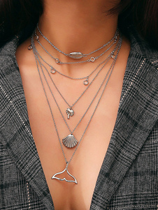 Image of Monili delle donne della collana del pendente di Shell della collana a strati d'argento