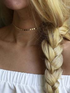 Image of Collana di choker con paillettes Collana con catena di monete d'oro regalo per lei