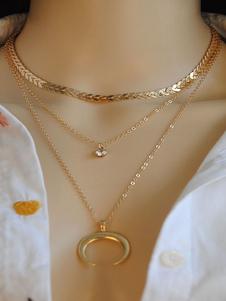 Image of Collana a strati oro Collana con ciondolo a forma di luna con co