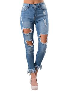 Image of Jeans strappati blu Jeans a vita alta con effetto vita alta