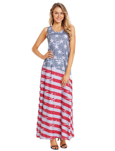 Image of Maxi Summer Dress Sleeveless Flag Print Girocollo blu Tank Dress