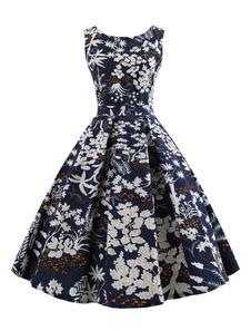 Image of Abito da donna senza maniche stile anni '50 floreale vintage