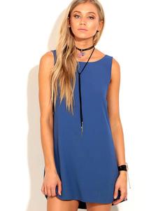 Image of Abito estivo sexy in mini abito blu senza maniche