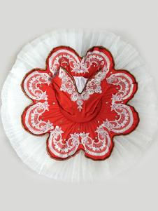 Bailarina Vestidos de Encaje Rojo Rebordear Correas Plisadas Traje de Baile de Ballet