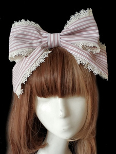 Image of Sweet Lolita Hair Clasp Infanta Grass Story Lace Trim Bow Stripe