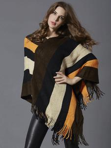 Image of Maglieria maglione maglione donna pullover frange maglione a righe
