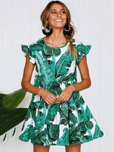 Image of Vestito estivo da donna con maniche a stampa tropicale