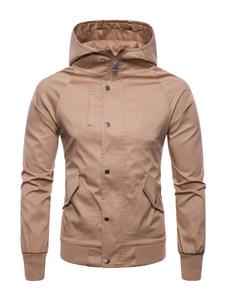 Abrigo informal con capucha y cremallera con capucha y manga larga