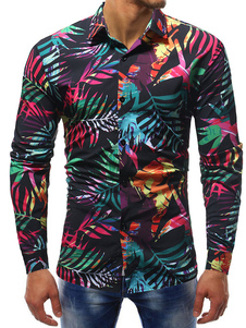 Image of Camicia per uomo nero Camicia casual a maniche lunghe con stampa