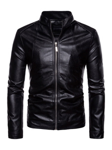 Black Biker Jacket Plus Size Stand Collar Zip Up PU Chaqueta de cuero de la motocicleta