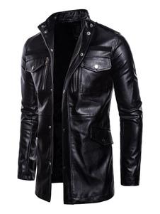 Abrigo de cuero de los hombres Más tamaño Cremallera Botón metálico Biker Coat Collar de manga larga PU Chaqueta