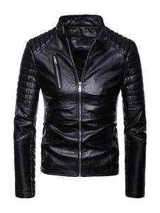 Image of Giacca da motociclista da uomo Giacca in pelle con cerniera metallica Giacca arricciata con colletto Giacca slim fit nera in PU