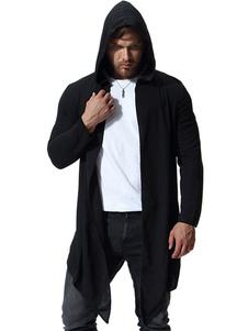 Abrigo de hombre con capucha y capucha negra de talla grande Abrigo de manga larga con diseño irregular y manga larga