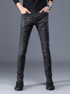 Image of Jeans Uomo Denim Blu Distressed Tapered Fit per Uomo