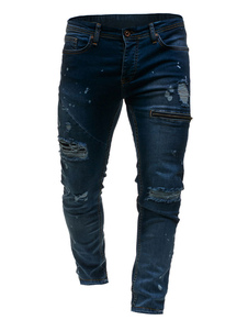 Image of Jeans Dritti Da Uomo 2019 Jeans Strappati Blu Jeans Denim Con Ce