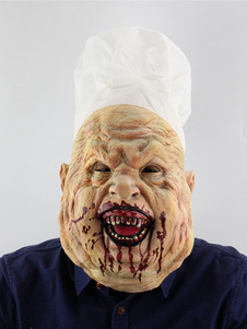 Image of Halloween Scary Mask Chef Butcher Bloody Latex Creepy Full Head