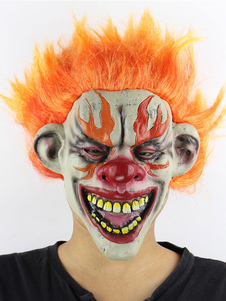 Image of Halloween Clown Mask Scary Orange Hair Latex Divertente Cosplay