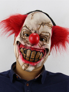 Image of Clown Mask Halloween Spaventoso Divertente Latex Full Face Red H