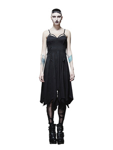 Image of Steampunk Dresses Costume di Halloween Black Women Retro Gothic Slip Dress