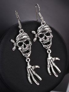 Image of Orecchini pendenti in argento con teschio di Halloween