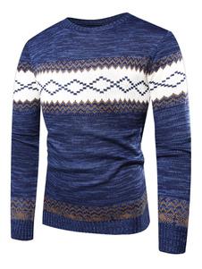 Image of Maglione uomo in maglione lavorato a maglia con motivo trapuntato blu in cotone