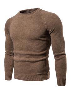 Image of Maglione girocollo maniche lunghe slim fit da uomo in maglione lavorato a maglia