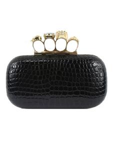 Black Evening Clutch Bags Rhinestones que rebordean los anillos del cráneo Party los bolsos