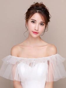 Abrigo de boda blanco del hombro perlas de tul chal nupcial