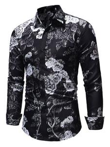 Image of Camicia floreale da uomo Camicia casual nera a maniche lunghe sl