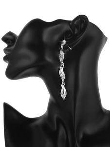 Image of Orecchini di nozze in argento con strass lascia gioielli da sposa