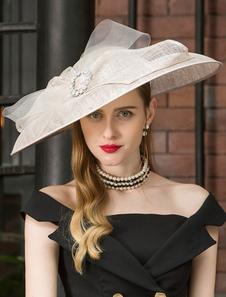 Image of Retro Cappello Ecru Bianco Donna Lino a tesa larga Cappello a ve