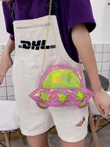 Image of Borsa a tracolla Lolita in PU bicolore con tracolla in metallo