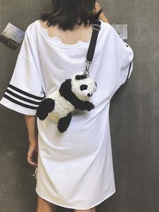 Image of Borsa Lolita nera Borsa borsa Lolita in velluto a coste Panda Design