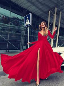 Image of Abito lungo con maniche lunghe Vestito da donna con bottoni ross