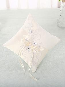 Almohada de la boda flores de encaje blanco perlas de diamantes de imitación bordado almohadas portador del anillo