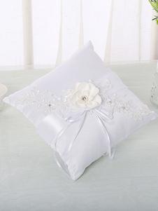 Almohada del portador del anillo Almohadas blancas de la boda de la cinta de las flores del cordón