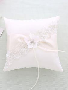 Almohada blanca del portador del anillo Almohada moldeada de la boda del cordón de la cinta