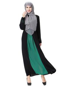 Abaya Vestido con Manga Larga para Mujer 2018 de Cuello Alto Bordado Dos Colores Musulmán Vestido